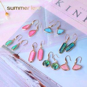 Design unico Orecchini colorati pendenti in vetro a goccia Waterdrop per orecchini pendenti in cristallo di moda geometrica da donna 20 nuovi gioielli
