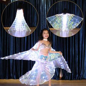 Crianças LED asas da borboleta criativas barriga dança Manto Costumes Belly Glowing Roupa Desempenho