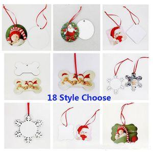18 Styles Ornements Décorations de Noël Sublimation Mdf ronde forme carrée Décorations à chaud Transfert Impression blanc consommable HH9-2586