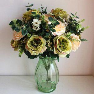 Большой искусственный пион Букет европейский Simulation розы искусственного шелка Цветы Свадебный букет Домашнее украшение Поддельные завод