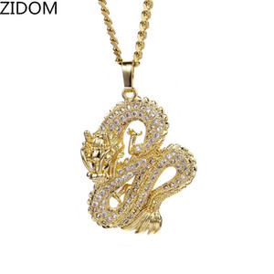 Los hombres Hip Hop fuera helado collar Cubic Zirconia colgantes dragón chino collares pendientes de alta calidad para hombre Hip Hop regalos de joyas