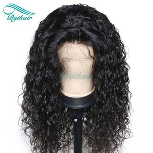 Bythair Human Hair Full Lace Wig Curly Pre-plucked Hairline Deep Curly Lace Front Wig Peruvian Virgin Hair 150% Density With Baby Hair