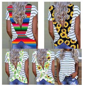 Moda de verano serape cruz camisa de las mujeres estampado de girasol cruzado espalda camisas raya manga corta cactus camiseta leopardo dama tops
