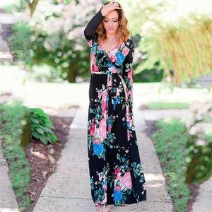 Casual Kleider Mode Unregelmäßige Binden Reich Getäfelten Frauen Designer Kleider Casual Frauen Kleidung Blumendruck Frauen