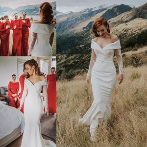 Русалка Boho свадебные платья свадьбы с длинными рукавами 2019 от плеча атласа в лесного пляжа невесты платье с аппликацией свадебное платье