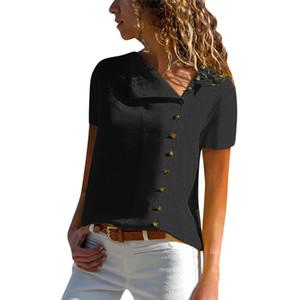 Verano de las mujeres blusa de la gasa ocasional de la solapa del cuello de manga corta de la hebilla de tapas de la blusa 20ss Mujeres Blusas Mujer De Moda