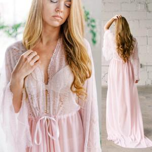 Сексуальные розовые свадебные халаты для женщин V-образное вырезывание шифон обрезанные пользовательские длинные рукава нижние бельё свидания ночные купальные купальные халаты