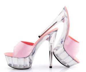 Verano de las mujeres de alta calidad de diapositivas sandalias dulce Ultra High Heels 15cm zapatos de boda Zapatos de Cristal Transparente Rosa impermeable
