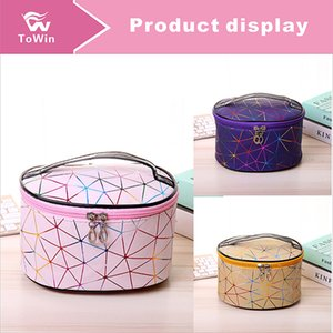 Portable Cosmetic Bag Women Fashion Geometric Pattern Two-tone Travel Make Up Necessary Organizer Zipper Makeup Case Pouch Toiletry Kit Bag