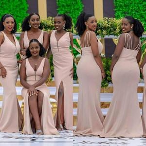 2020 African V Neck Sleeveless Side Split Bridesmaid Dresses Satin Zipper Maid Of Honor Dresses Mermaid Wedding Guest Dress