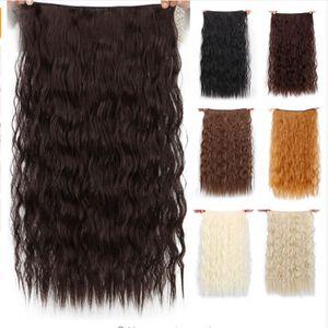 "Clipes longos em Synthetic Hair Extension Cabelo Natural Water Wave Loiro Preto 22"" 55 cm para mulheres resistente ao calor"