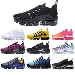 Com Box New 2020 TN Além disso Running Shoes Triplo Preto Prata metálica Gradiente Geometric Volt Homens Esporte Formadores jogo real sapatilhas atléticas