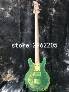 ذات نوعية جيدة حار بيع الاكريليك الكهربائية باس غيتار SR-078 جيد الصوت اللون الأخضر دان نمط روزوود Pickguard لإصلاح جسر كريستال