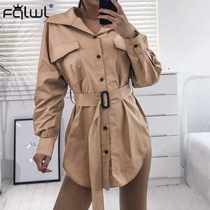 FQLWL Outono Casaco Trench Casuais Mulheres Manga Longa Cintos Blusão Mulheres Outwear Senhoras Streetwear Longo Trench Coat Feminino