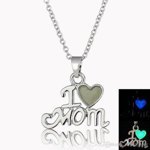 Free shipping Shiny mother jewelry i love mom luminous pendant mother exclusive gift WFN148 (with chain) mix order 20 pieces a lot