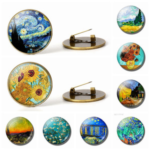 Retro Van Gogh Art Starry Night Sunflower Brooches Men Women Glass Cabochon Dome Jewelry School Bag Bronze Brooch Pin Gift