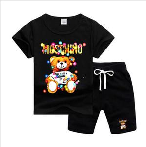 Горячие Бесплатная доставка новых весна Роскошная девушка мальчик футболку штаны дамский костюм Kids Brand Детские 2pcs Хлопок Одежда Наборы