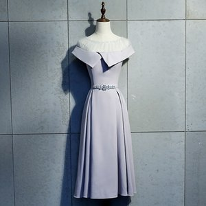 2020 Daminha Evening Dress Grey Medium Length 2020 New Korean Version Show Thin Banquet Lady Bridesmaid Autumn
