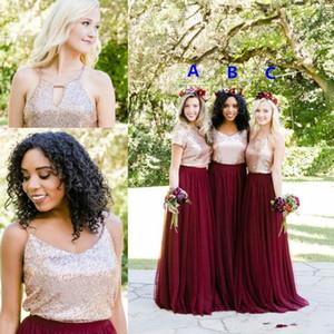 2019 Sparkly Sequined Borgonha Vestidos de dama de honra Elegante Duas Peças Tule Vestido de Convidado do Casamento Barato Festa Formal Saias de Baile