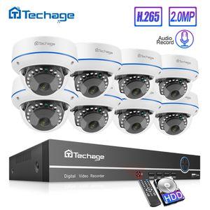 Ucuz Gözetleme Sistemi Techage H.265 8CH 1080P POE NVR Kiti CCTV Ev Güvenlik Sistemi 2MP Ses Kapalı Dome IP Kamera Video Gözetim