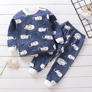 New Autumn Winter Girls Boys Underwear Set Thicken Plush Thermal Kids Clothes Suit Baby Children Warm Sports Clothing Sets 2pcs