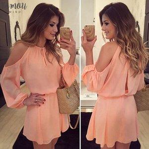 Женщин летнее платье с длинным рукавом Повседневная Розовый с плеча вскользь Мини платье партии Короткие шифоновое платье Твердые женщин цвета 2020 Горячие