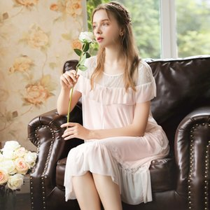 Wasteheart Frauen Fashion Pink Sexy Nachtwäsche Negligée Spitze-Bogen-Cotton Nachtwäsche Sleepnachthemd Nachtwäsche Luxus weiblich