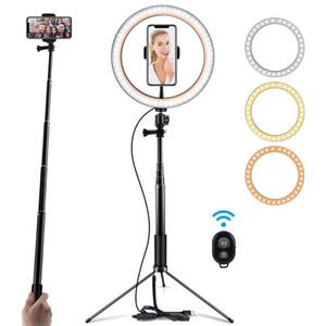 Tabella Fotografia 10inch LED Treppiede lampada dell'anello Youtube video in diretta 5500k Photo Studio selfie Stick trucco leggero per telefono Y200114