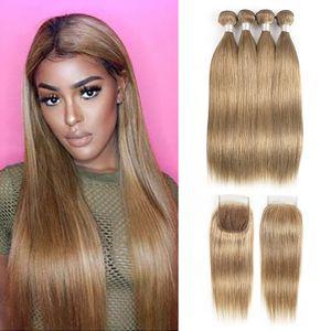 Brasileña recta del pelo de la armadura de los paquetes con Cierre Ash Blonde color # 8 4 paquetes con el encierro 4x4 encaje Remy extensiones de cabello humano