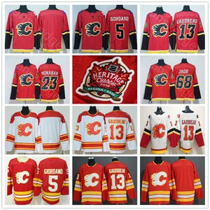 2019 Heritage Flames de Calgary Classique Maillots 5 Mark Giordano 13 Johnny Gaudreau 23 Sean Monahan 68 Jaromir Jagr Hockey Maillots
