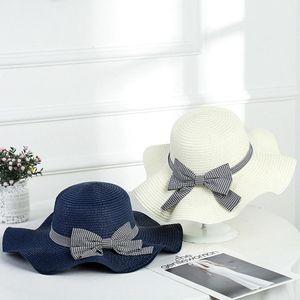 Donna esterna parasole cappello di paglia Estate femminile Bowknot solare Cap causale signora Beach Viaggi Wide Brim Cappello per il sole TTA1176-14