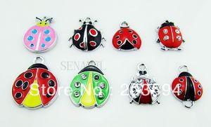 ME006 Wholesale 100Pcs Lots DIY Alloy Mixed Enamel Ladybug Charms Fashion jewelry accessories, charms, pendants bead