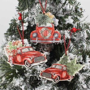 عيد الميلاد شاحنة المعلقات خشبية الحلي لشجرة عيد الميلاد زخرفة السنة الجديدة حزب الديكور كيد لعب عيد الميلاد