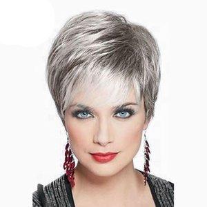 1PC Short Hair Wig Gray Real Remy Human Hair Topper Toupee Clip Hairpiece Lace Top Wig For Women 2M81107
