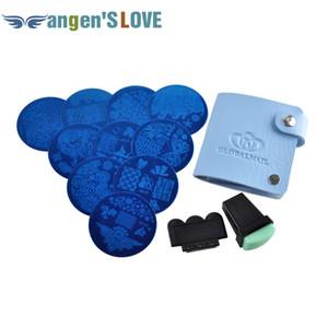 Nail Art Imagen Estampado Estampado Placas Manicura Plantilla 10pcs Plantilla diferente + Estampador + rascador + Bolsa de almacenamiento