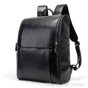 Qualitäts-echtes Leder-Rucksack Mens-Schulter-Beutel-Weinlese-College School Rucksäcke Luxusreisetasche (Grau, Schwarz, Kaffee)