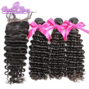 A C 100 %Unprocessed Deep Wave Brazilian Virgin Human Hair Extensions 3pcs Hair Wefts +1pc Lace Closure 4 &Quot ;X4 &Quot ;Full Head Na