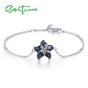 SANTUZZA Silver Bracelet For Women Authentic 925 Sterling Silver Delicate Dainty Blue Star Flower Adjustable Fine Jewelry CX200703