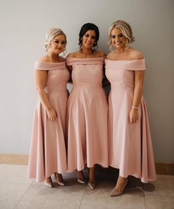 Simple Pink Bridesmaid Dresses Elegant Off Shoulders High Low Maid of Honor Gowns Cheap Beach Garden Plus Size Bridesmaid Dress 30