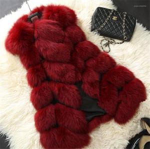 단색 여성 아우터 디자이너 여자 여우 모피 조끼 겨울 따뜻한 민소매 긴 여자 코트 캐주얼