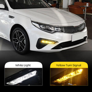 2Pcs LED Daytime Running Lights For Kia Optima K5 2019 2020 DRL With Yellow Turn Signal Front Fog Light