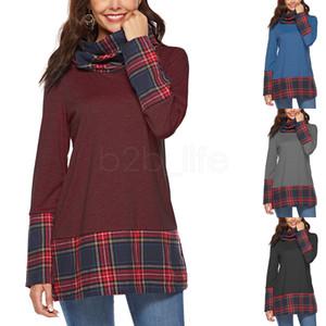 Mujeres patchwork pliad sudadera con capucha de manga larga choker cuello alto blusa suelta fit Tops camiseta cuello redondo Casual ropa para el hogar AAA1767