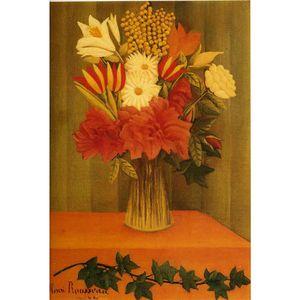 Canvas art oil Paintings Vase of Flowers Henri Rousseau Hand painted Landscapes artwork for bedroom decor