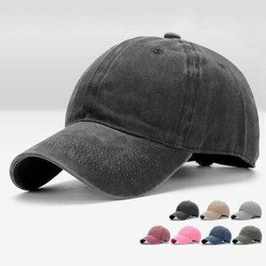 2020 Wholesale European and American new washed cotton hat pure color cap cap men's single color light plate baseball cap women