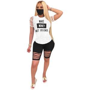 Verano de las mujeres del chándal de hacer dinero no amigos carta Agujeros onduladas camisa cortocircuitos 2pcs Set T + cortocircuitos del motorista diseñador de ropa deportiva Traje D61511