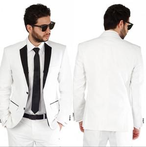2020 Costume Homme Mariage 2017 Tailored White Wedding Tuxedos Trauzeugen Herren Anzüge Hochzeit Bräutigam Bester Mann Blazer (Jacket + Pants)