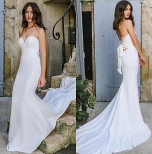 Lihi Hod 2019 New Mermaid abiti da sposa Sweetheart Boho abiti da sposa Backless Beach Country Tromba abito da sposa in raso semplice