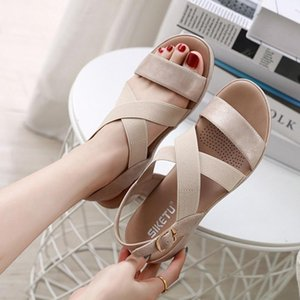 Eillysevens Femmes Summer Open Toe Casual confortable Respirant Slipper Sandales Wedges Chaussures #