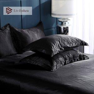 Liv-esthete 2019 شحن مجاني متعدد الألوان 100٪ الطبيعة اللطخة الحرير الأسود المخدة وسادة القضية ل معيار صحي للنساء رجل