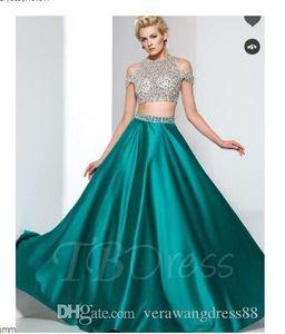 A-Line Two-Piece Beaded Zipper-Up Long Prom Dress Graduation